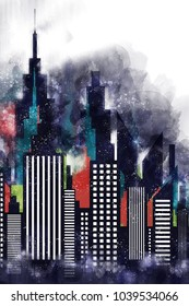 American City Buildings And Skyscrapers Watercolor Illustration