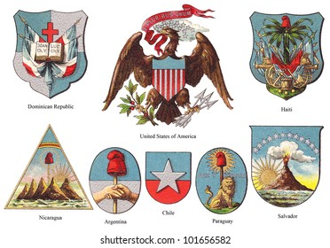 American coat of arms collection (isolated on white background) / vintage illustration from Meyers Konversations-Lexikon 1897
