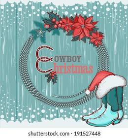 American cowboy Christmas background with western hat and boots decorations.Raster