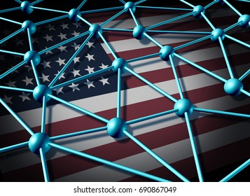 American data network and united States communications technology and internet security from hacking or web social networking as a 3D illustration.