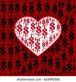 American dollar currency signs with heart silhouette image