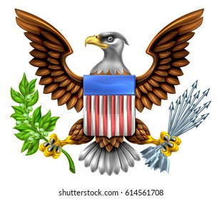 American Eagle Design with bald eagle holding an olive branch and arrows with American flag shield