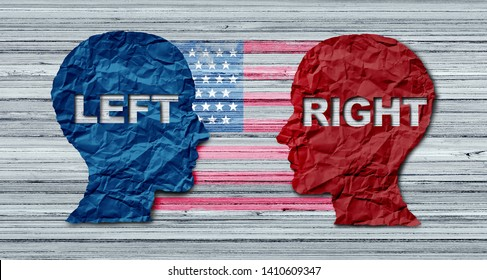 American election concept as a United States politics election idea as the left and right wing representing conservative and liberal voting campaign in a 3D illustration style.