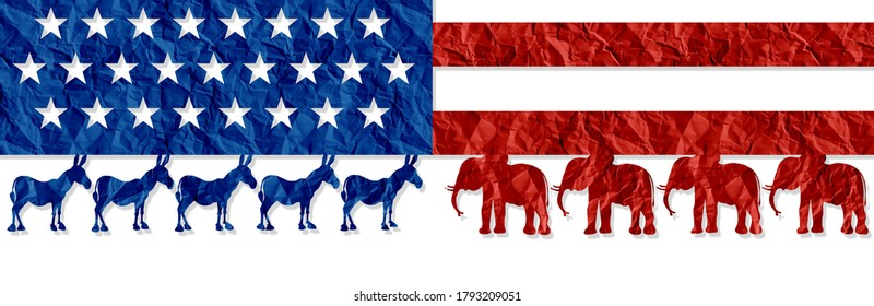 American election decision as left Versus right represented by the liberal and conservative symbol fighting for the vote of the United states citizens for an election win in a 3D illustration style.