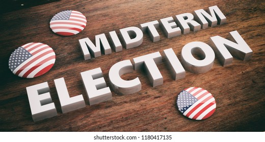 American elections concept. USA flag pin button / badge and midterm elections on wooden background, 3d illustration.