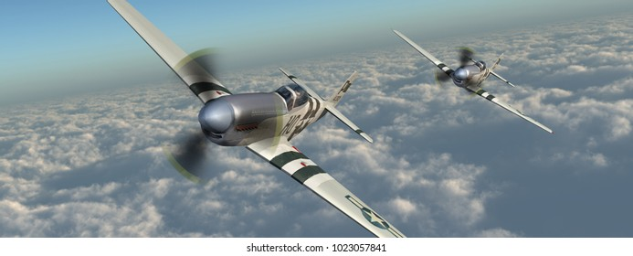 American fighter planes of World War II over the clouds Computer generated 3D illustration