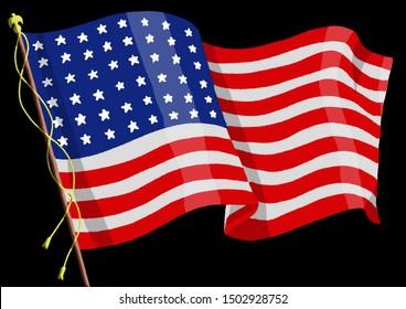 American Flag in 1918 - end of World War One. Original illustration on black background