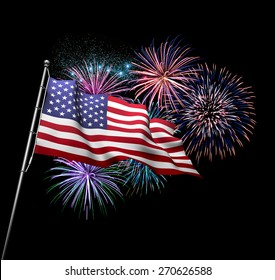 The American flag against 4th of July fireworks exploding in background. Independence Day concept