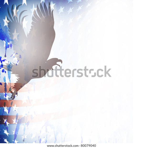 American flag and bald eagle theme grungy backdrop.