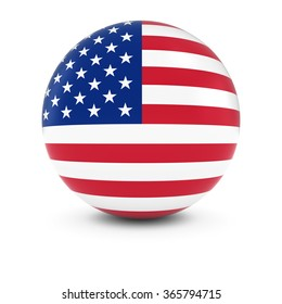 American Flag Ball - Flag of the USA on Isolated Sphere
