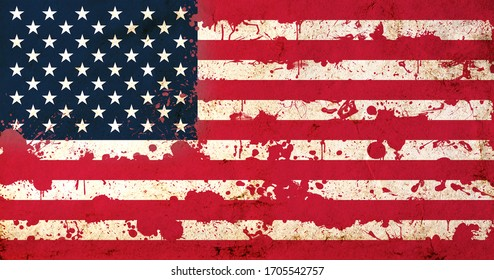 American flag with blood stains. USA national flag with blood splatters. Old retro grunge vintage style texture. Large image.