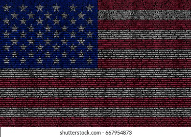 American flag composed of dense computer code cybersecurity programming concept