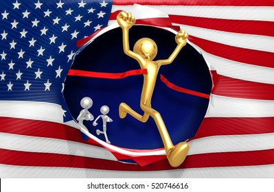 American Flag Concept With The Original 3D Character Illustration Runner Winning A Race