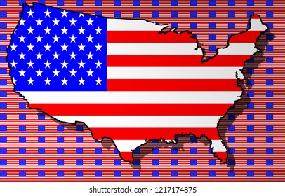 American flag with a contour of borders
