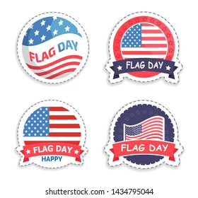 American flag day promotional round stickers set. patriotic festival emblems with main national symbol of united states isolated raster illustrations.