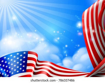 American flag design against a sky with clouds background design