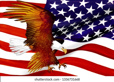 American Flag and Eagle - Oil on Canvas