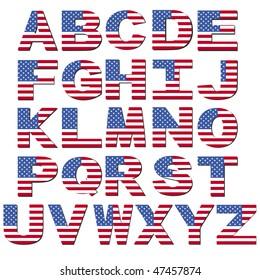 American flag font isolated on white illustration JPEG