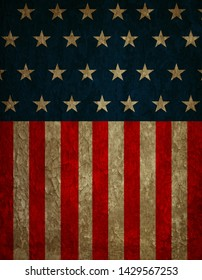 American flag graphic with a worn and weathered appearance.