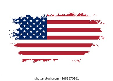 American flag. Grunge old flag USA isolated white background. Distressed retro texture. Vintage grungy dirty design. Symbol America united national freedom, patriotic 4th july illustration