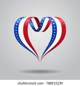 American flag heart-shaped wavy ribbon. Raster version.