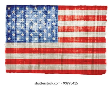 American flag on original papyrus background
