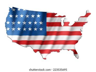 American flag on a USA map
