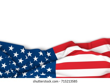 American flag on white background with copy space. 3D illustration