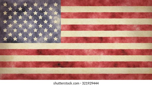 American flag painted watercolor. Illustration national flag USA.