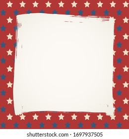 American flag patriotic background. United States blank square frame with space for text. Independence day design template. Stars backdrop.