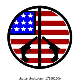 american flag with peace sign with hand guns