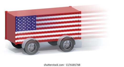 American Flag Shipping Container with wheels, 3d illustration