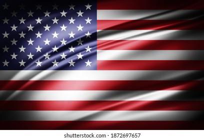 Amerikanische Flagge für Seide-3D-Illustration