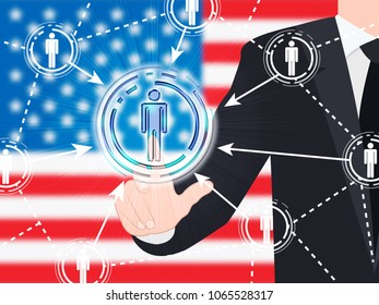 American Flag Social Media Button Pressed 3d Illustration. Cyber Crime  Criminal Campaign by Russian Government To Hack Elections In The USA Using Illegal Online Spying.