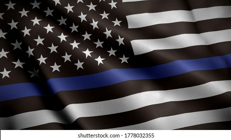 An American flag symbolic of support for law enforcement,usa flag 3d rendering