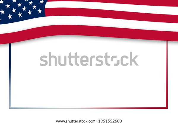 american flag top border with box cutout illustration for card presentation invitation poster