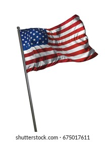 American Flag Waving Isolated on White Background Portrait 3D Rendering