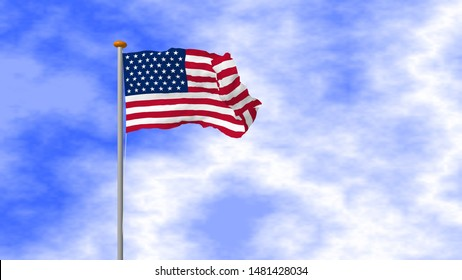 American flag waving on pole with blue sky. 3D rendering