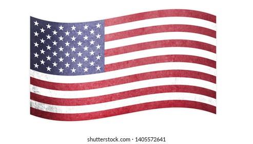 American flag waving,  vintage USA flag