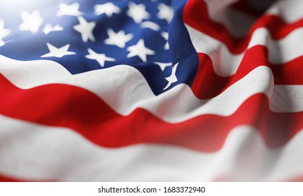 American flag waving in the wind. Close up. 3D rendering