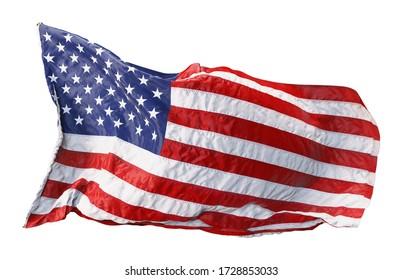 Die amerikanische Flagge windet im Wind isoliert auf weißem Hintergrund. 3D-Darstellung