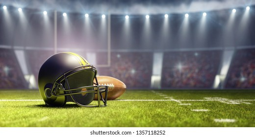 American football background with ball and black helmet 3D