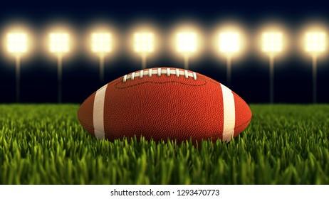 American football ball close up on field. Illuminated American soccer stadium 3D illustration.