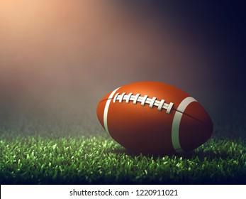 American football ball on grass field  lit by spotlight, Game night, 3d illustration