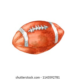 The American football ball on white background. Hand drawn watercolor illustration.