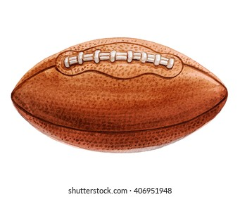 American football ball. Watercolor illustration.