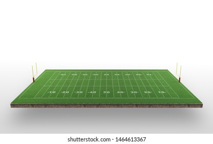 American Football Field, Green Grass, Realistic, White Background, 3D Rendering.