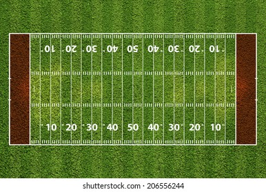 American football field with hash marks and yard lines. Grass textured.