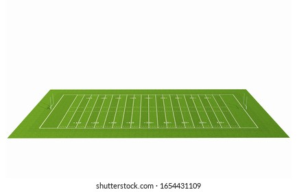American football field with line. American football stadium with grass pattern. Isolated on white background with clipping path. 3D rendering.