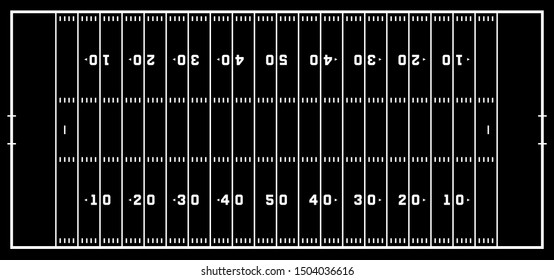 American football field with marking. Football field in top view with white markup.